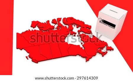 """Contour of Canada and ballot box with label """"elections"""". - stock photo"""