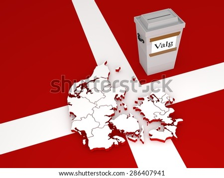 "Contour of Denmark (with regions before administrative reform in 2007) and ballot box with label with word ""Valg"" meaning ""elections"" in Danish language.  - stock photo"