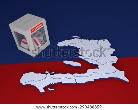 """Contour of Haiti and ballot box with label with word """"Elections"""" in French language. - stock photo"""