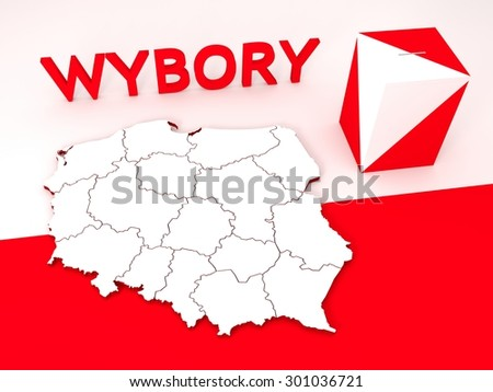 """Contour of Poland, ballot box and three-dimensional sign """"Wybory"""" meaning """"Elections"""" in Polish. - stock photo"""