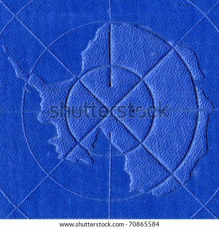 Contour of the Antarctic continent embossed in artificial leather - stock photo