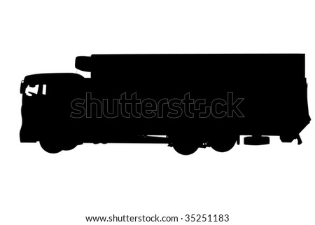 Contour of the truck under the white background