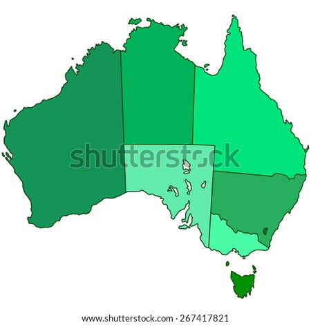 Contour silhouette border map of the Australia  - stock photo