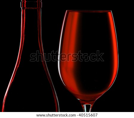 Contour wineglass and bottle wine - stock photo