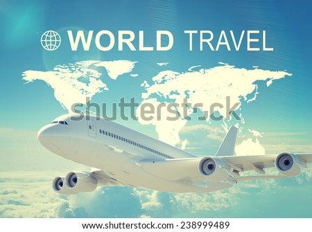 Contoured map of world continents, inscription World Travel and related symbol. Flying jet airliner on foreground, cloud layer and sky as backdrop - stock photo