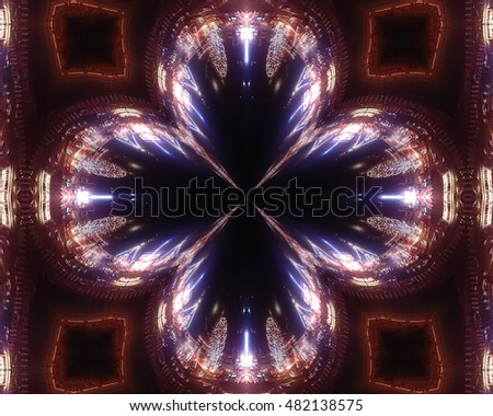 Contours of sparkling evening city in crystal glass flower. Abstraction