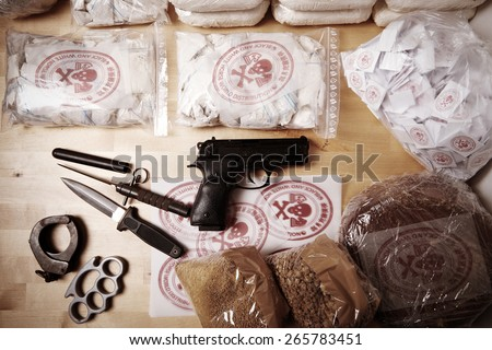 Contraband seized by police - stock photo