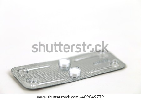 contraceptive pill ,or morning after pill isolated on white,abortion concept. - stock photo