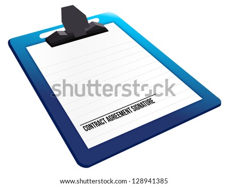 contract agreement signature on a clipboard illustration design