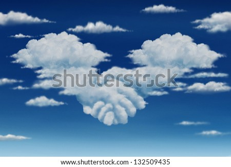 Contract agreement vision in a meeting of a group of two cumulus clouds on a blue sky shaped as hands of business people coming together to form a strong collaboration for the future. - stock photo