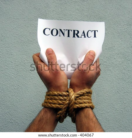 contract and tied hands - stock photo