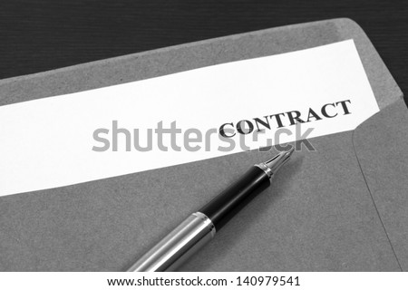 contract, contract in folder Close-up - stock photo