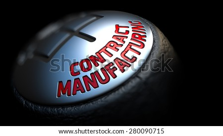 Contract Manufacturing. Control Concept. Gear Lever on Black Background. Close Up View. Selective Focus. 3D Render. - stock photo
