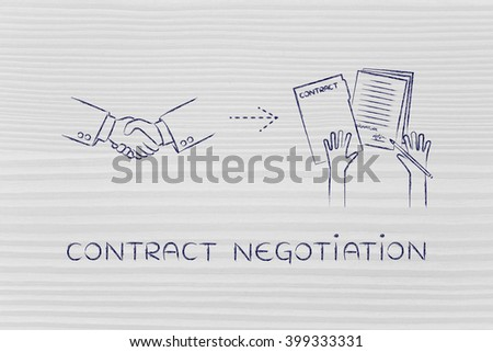 contract negotiation: handshake and hands holding signed documents - stock photo