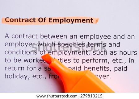 contract of employment  word highlighted in the white background