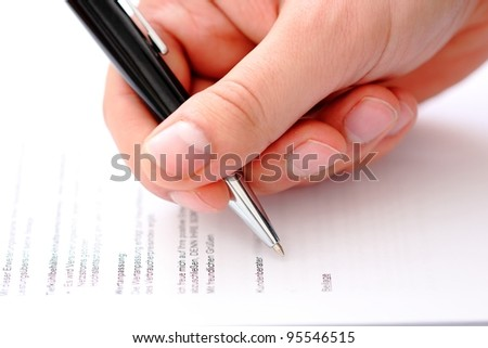 contract signature/contract - stock photo