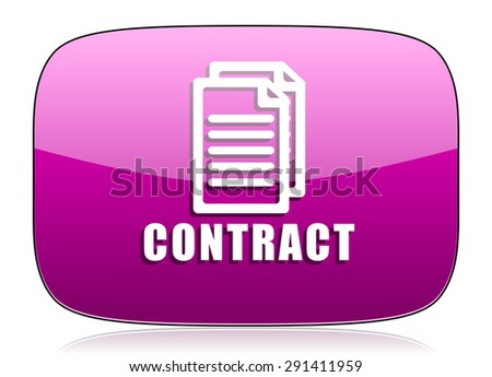 contract violet icon  original modern design for web and mobile app on white background with reflection  - stock photo