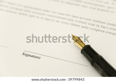 Contract with fountain pen - Sign here - stock photo