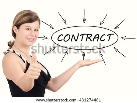 Contract - young businesswoman introduce process information concept. Isolated on white. - stock photo