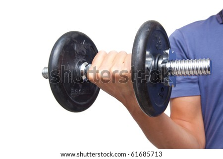 Contracted biceps isolated on white - stock photo