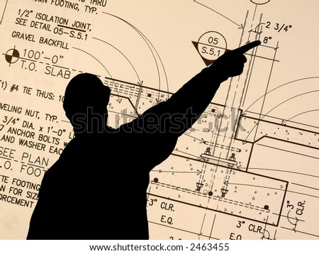 Contractor pointing a Blueprint Detail - stock photo