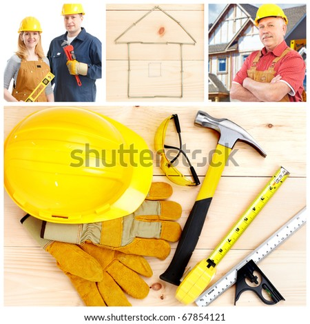 Contractors and tolls, gloves, hammer, saw and drill - stock photo