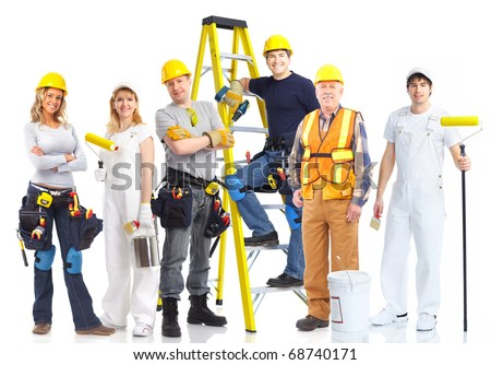 contractors workers people. Isolated over white background - stock photo