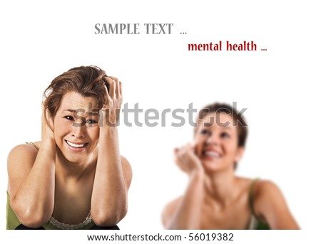 Contradiction - a happy smiling and a unhappy depressed woman - stock photo