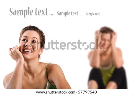Contradiction - happy and depressed women against a white background with space for text - stock photo