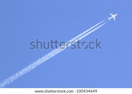 contrail  and  blue  sky in Japanese winter   (iwate  touhoku) - stock photo