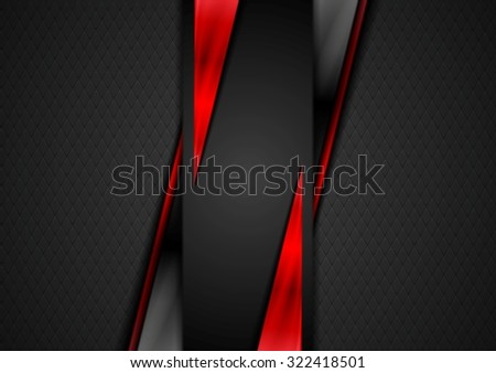 Contrast black red tech presentation brochure - stock photo