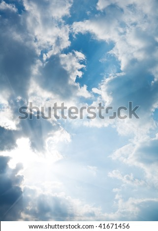 contrast blue sky with sun - stock photo