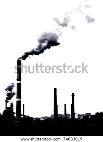 Contrast concept of global warming in b&w .Pollution smoke from factory - stock photo