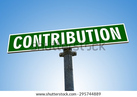 CONTRIBUTION word on green road sign - stock photo