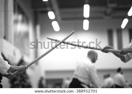 Control between partners, martial arts - stock photo