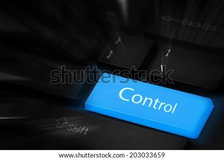 Control blue button keyboard - stock photo