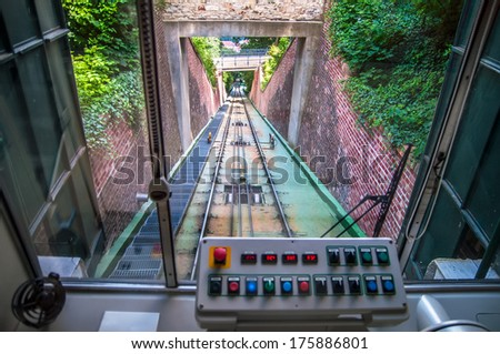 Control board inside of moving funicular cabin - stock photo