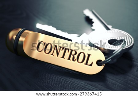 Control - Bunch of Keys with Text on Golden Keychain. Black Wooden Background. Closeup View with Selective Focus. 3D Illustration. Toned Image. - stock photo