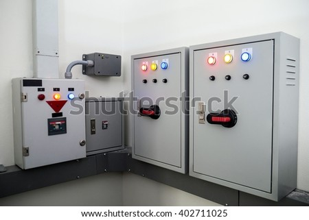 Control Electric Systems and breaker - stock photo