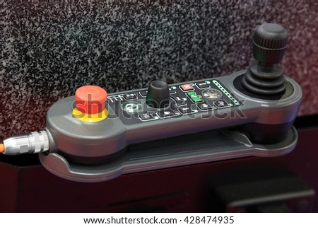 control joystick controller CNC machine moving parts and tools - stock photo