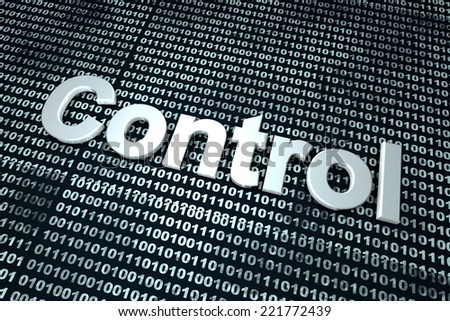 Control of binary, digital code. 3D Illustration. - stock photo