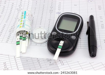 Control of blood glucose levels by measuring - stock photo