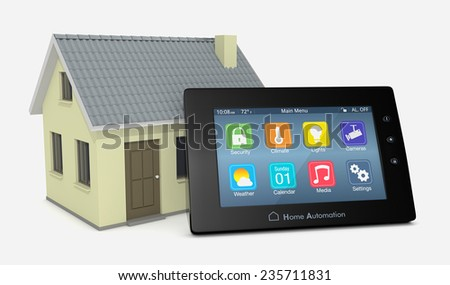 control panel for home automation system with a small house (3d render) - stock photo