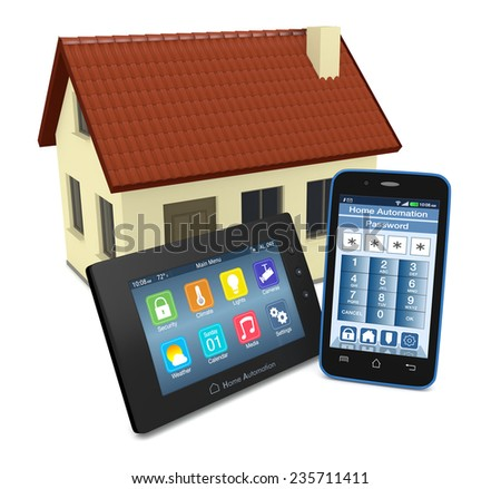 control panel for home automation system with a smartphone with an app for remote control and a small house on background (3d render) - stock photo