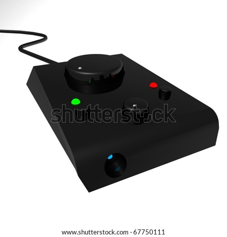 control panel in a black plastic casing with indicator LEDs volume control and headphone jack. 3d computer modeling - stock photo