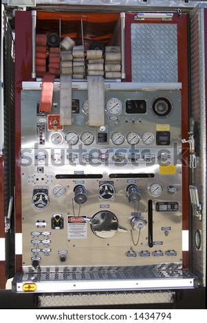 Control Panel of a Fire Truck - Gages and Dials - stock photo
