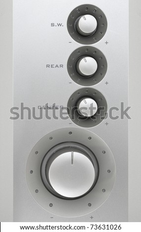 Control panel of acoustic system - stock photo