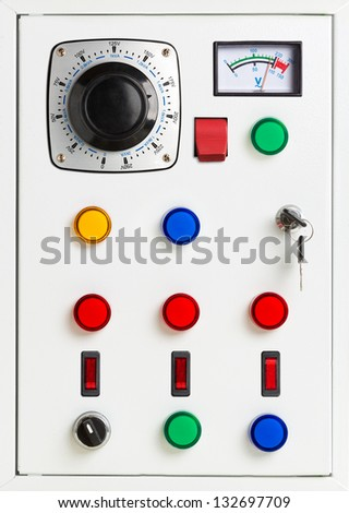 Control panel of an electrical switchgear cabinet - stock photo