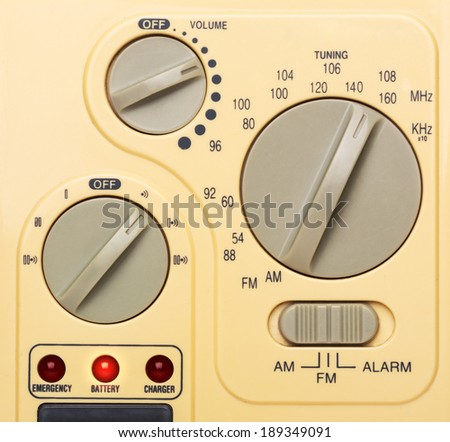 Control panel of radio, closeup picture - stock photo