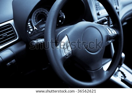 Control panel of the modern new car - stock photo